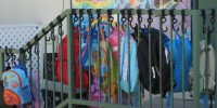 Bookbag Hooks in use at a school